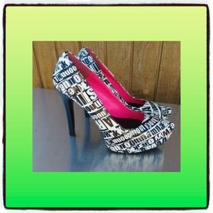 High heels Marquise black white size 8